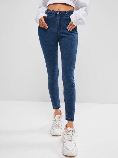 Jeans Esticados Bordados De Lavagem Escura De Bolso - Azul Claro S