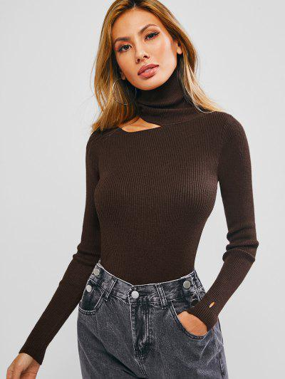 Ribbed Turtleneck Cut Out Knitwear - Wood