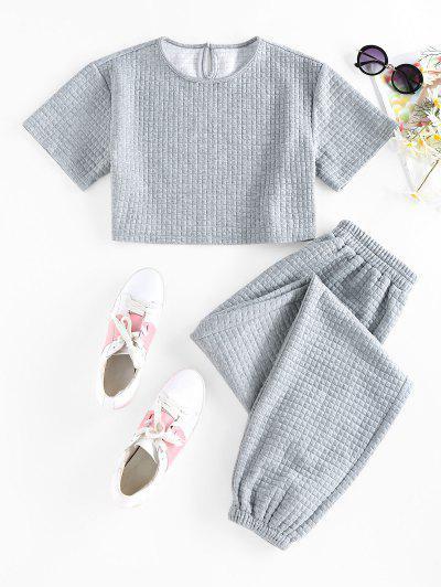 ZAFUL Textured Keyhole Beam Feet Two Piece Pants Set - Gray Cloud L