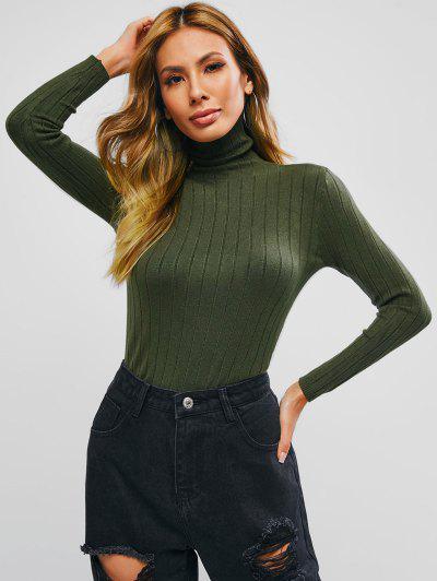 Turtleneck Ribbed Basic Knitwear - Dark Forest Green