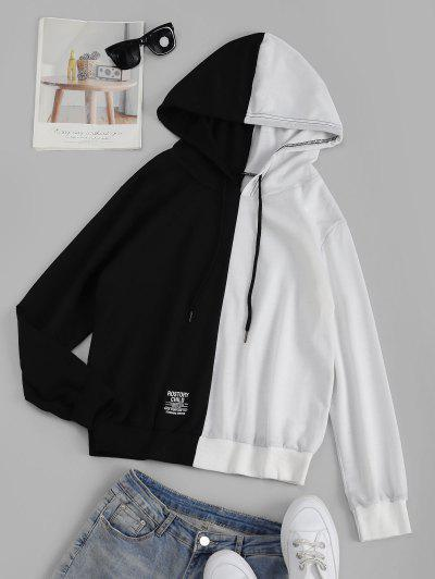 Colorblock Patched Design Drawstring Hoodie - Black S