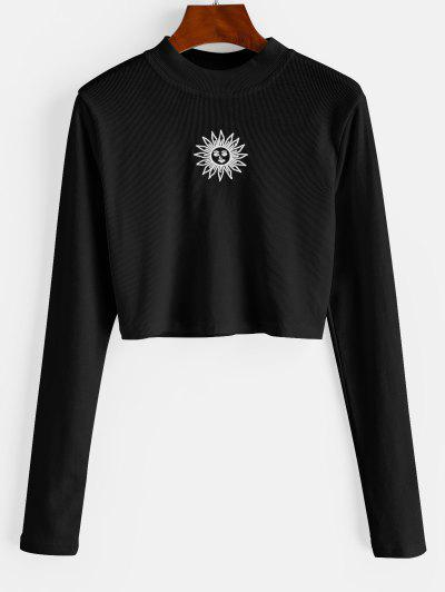 ZAFUL Crew Neck Sun Embroidered Crop Top - Black S