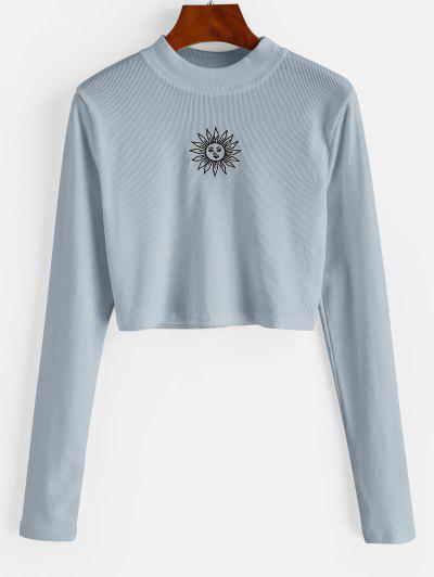 ZAFUL Crew Neck Sun Embroidered Crop Top - Light Blue L