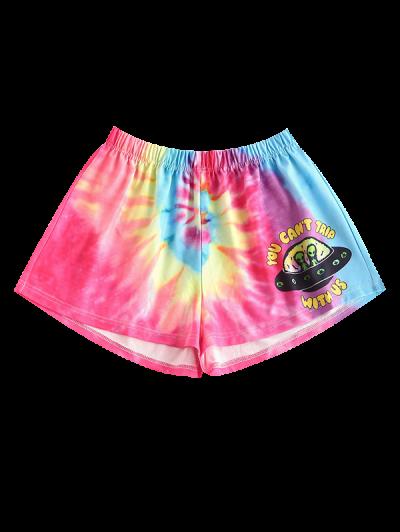 Aliens Graphic Tie Dye Sweat Shorts