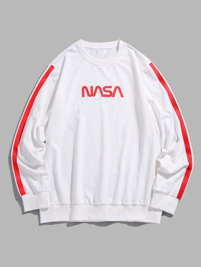 ZAFUL Letter Side Stripe Pattern Crew Neck Sweatshirt - White L