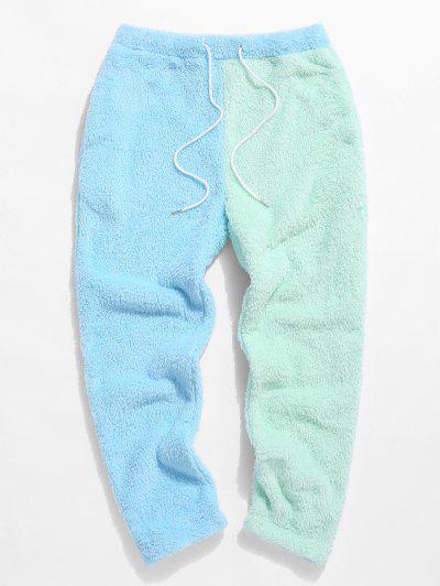 ZAFUL Color Blocking Panel Fluffy Pants - Light Blue L