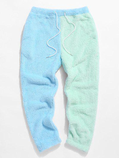 ZAFUL Color Blocking Panel Fluffy Pants - Light Blue S