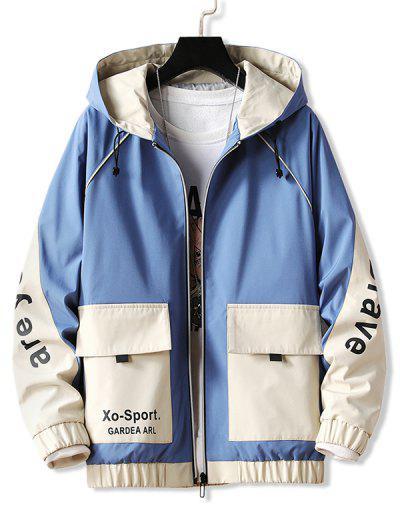 Letter Hooded Raglan Sleeve Zip Up Jacket - Blue M