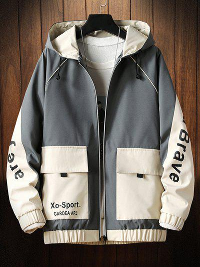 Letter Hooded Raglan Sleeve Zip Up Jacket, Gray