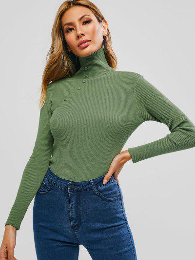 Turtleneck Ribbed Buttoned Knitwear - Camouflage Green