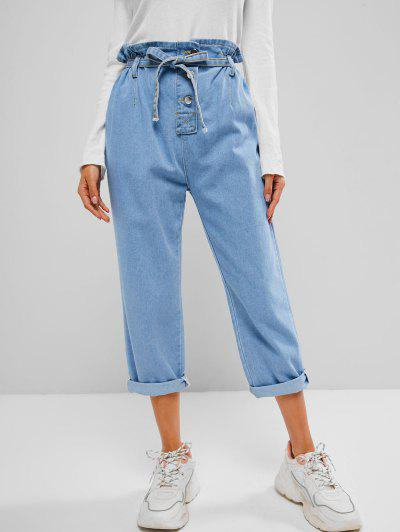 Button Fly Slouchy Paperbag Jeans - Blue M