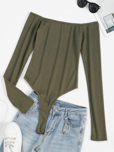 Ribbed Long Sleeve Bodysuit - Deep Green M