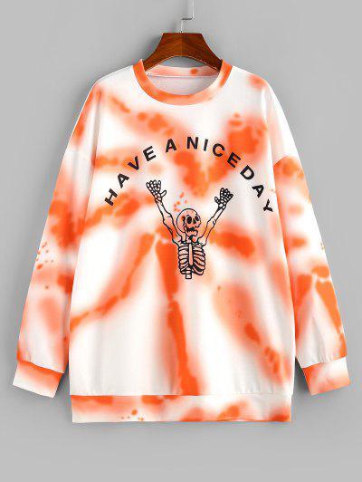 ZAFUL Tie Dye Halloween Skeleton Print Graphic Sweatshirt - Orange M