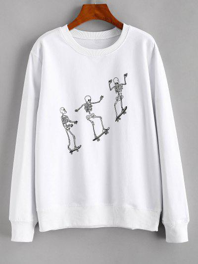 Skeleton Skateboard Print Sweatshirt - White L
