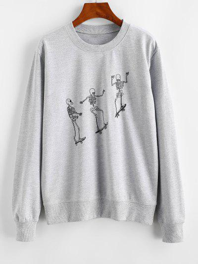 Skeleton Skateboard Print Sweatshirt - Gray Xl