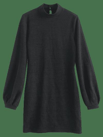 ZAFUL Bishop Sleeve Mock Neck Mini Sweater Dress