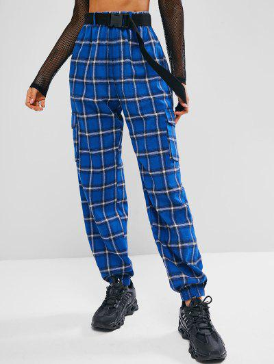 ZAFUL Plaid Belted Pocket Pants - Ocean Blue Xl
