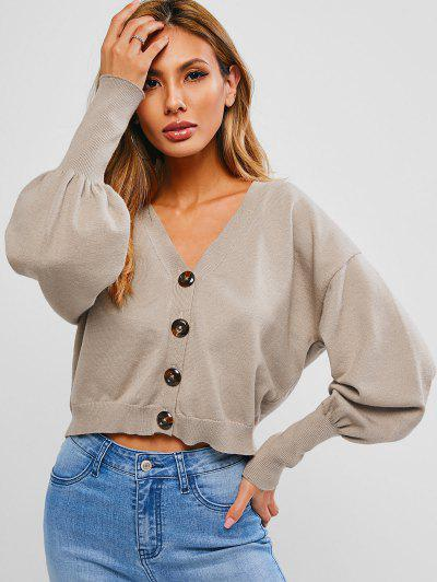 ZAFUL Balloon Sleeve Plunging Button Up Cardigan - Coffee L