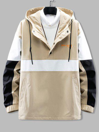 Hooded Color Blocking Pullover Snap Button Jacket - Light Khaki 3xl