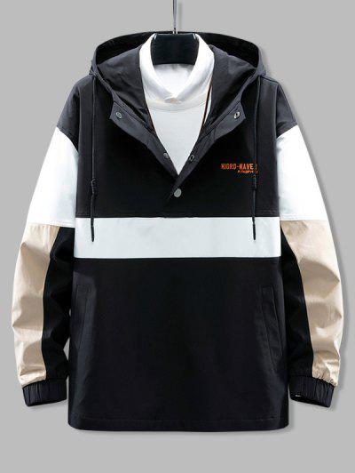 Hooded Color Blocking Pullover Snap Button Jacket - Black L