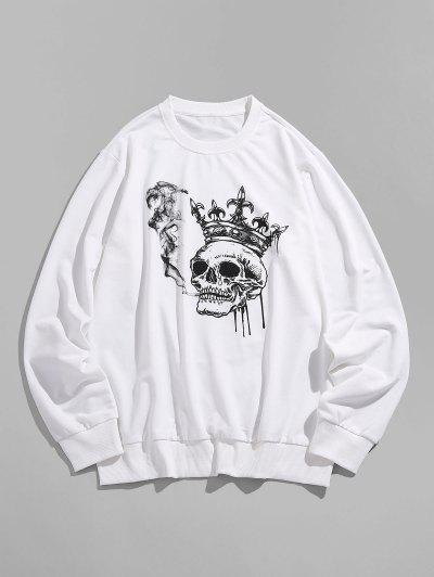 ZAFUL Funny Smoking Skull Crown Print Sweatshirt - White Xl
