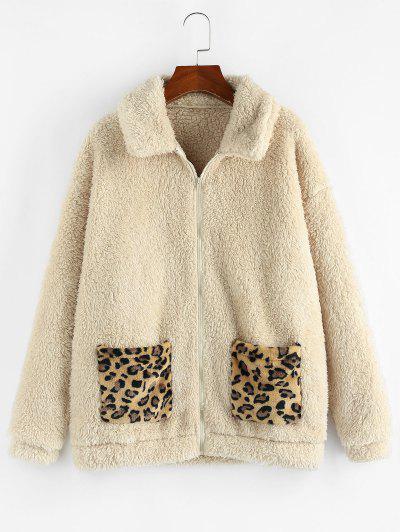 ZAFUL Leopard Pocket Zip Faux Fur Teddy Coat - Apricot L