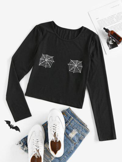 ZAFUL Halloween Spider Web Print Crop Tee - Black S