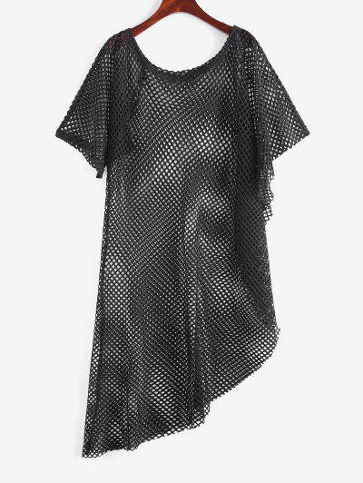 Openwork Uneven Hem Raw Cut Cover-up Dress - Black