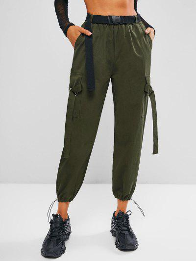 Toggle Drawstring Push-buckled Belted Cargo Pants - Army Green L