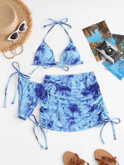 ZAFUL Tie Dye Ribbed Side Cinched Three Piece Bikini Swimsuit - Light Blue L