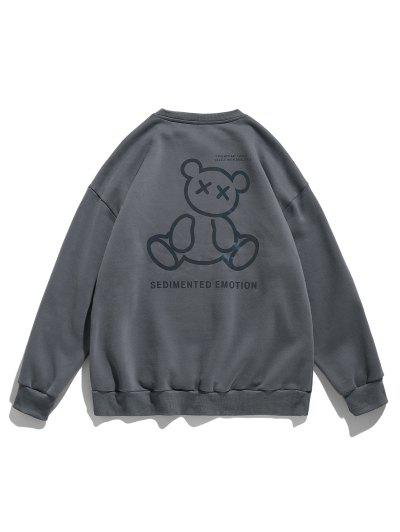 Reflective Bear Graphic Drop Shoulder Lounge Sweatshirt - Dark Gray Xl