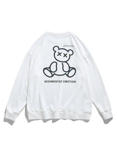 Reflective Bear Graphic Drop Shoulder Lounge Sweatshirt - White M