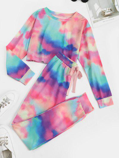 Tie Dye Pull On Two Piece Pants Set - Light Pink S