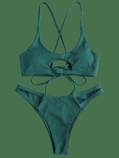 ZAFUL Ribbed Cutout Lace Up Bikini Swimwear