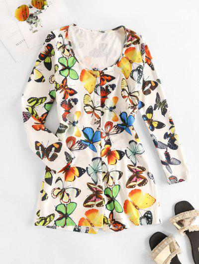 Snap Button Butterfly Print Pajamas Romper - White M