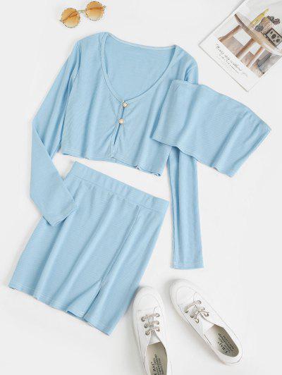 Button Loop Ribbed Slit Three Piece Dress - Sky Blue S