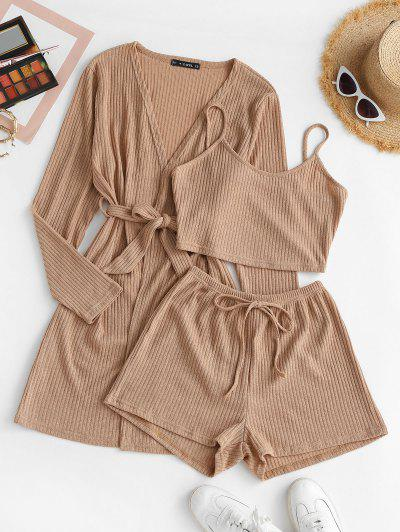 Ribbed Knit Cami Pajama Set With Robe - Light Coffee S