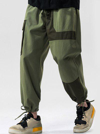 Colorblock Panel Drawstring Cuff Cargo Pants - Army Green L