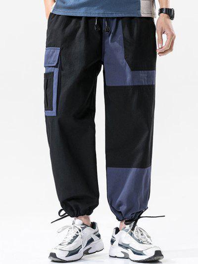 Colorblock Panel Drawstring Cuff Cargo Pants - Black 2xl