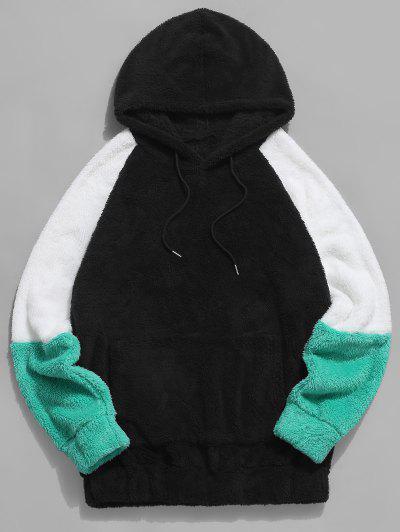 ZAFUL Colorblock Raglan Sleeve Fluffy Hoodie - Black S