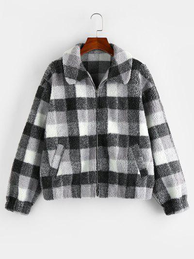 ZAFUL Plaid Drop Shoulder Zip Up Teddy Coat - Black L