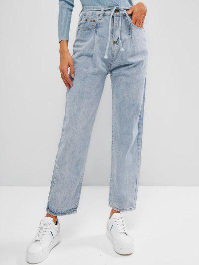 Faded High Rise Pocket Belted Mom Jeans - Light Blue M