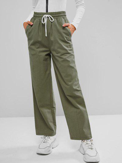 Drawstring Waist Pocket Wide Leg Pants - Green S