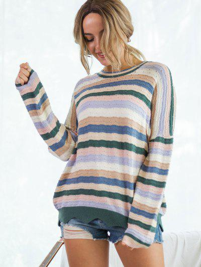 Colorful Striped Pointelle Knit Wave Hem Sweater - Multi S