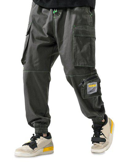 Letter Patchwork Stitching Multi-pocket Cargo Pants - Army Green Xl