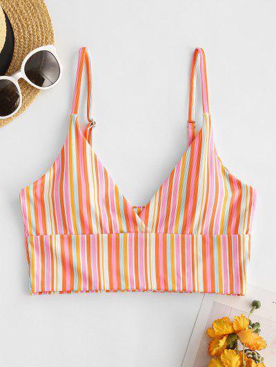 ZAFUL Colorful Striped Ribbed Cropped Bikini Top - Light Pink M