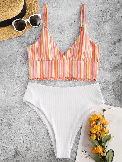 Colorful Striped Tankini Swimwear