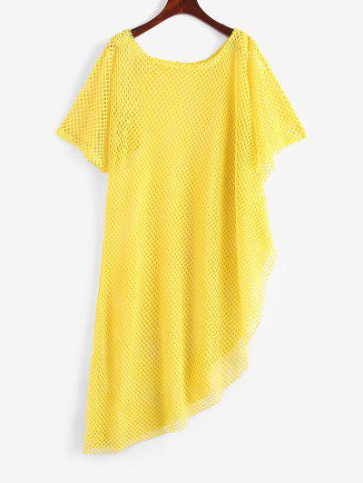 Openwork Uneven Hem Raw Cut Cover-up Dress - Yellow