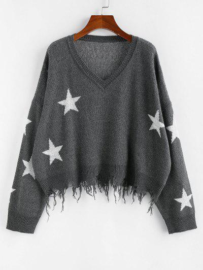 ZAFUL  Ripped Stars Jacquard Sweater - Gray L