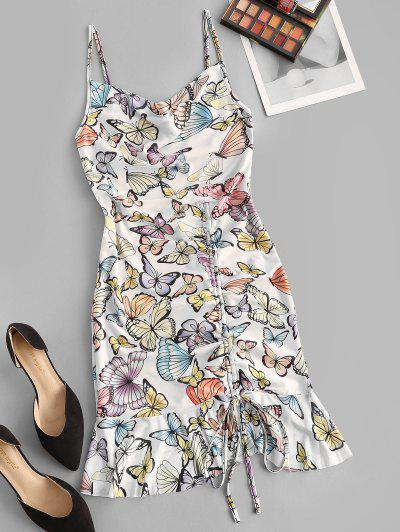 Cowl Neck Butterfly Print Cinched Ruffle Mesh Dress - White S